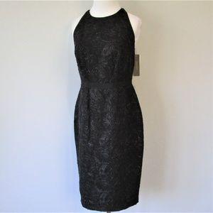 NWT Metallic Black Halter Open Back Party Dress
